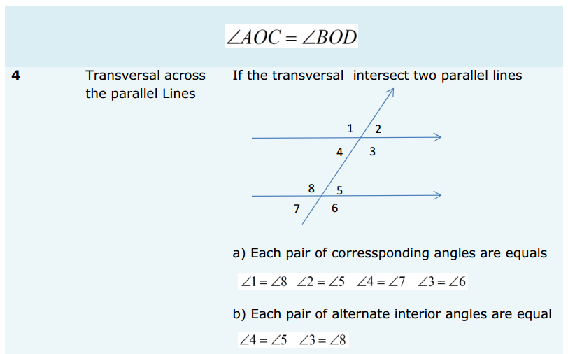 Lines and Angles Formulas for Class 9 Q4