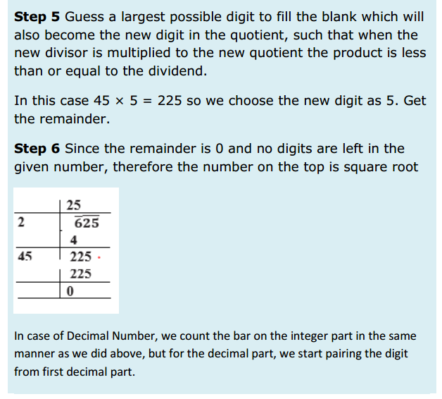 Squares and Square Roots Formulas for Class 8 Q7